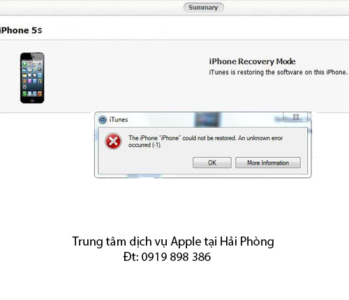Lỗi 1 khi restore iPhone 5s