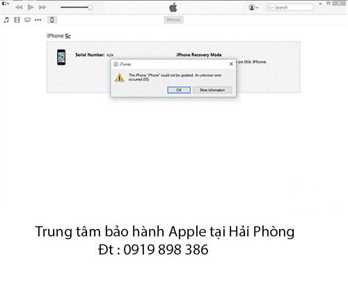 Lỗi 50 khi restore iPhone