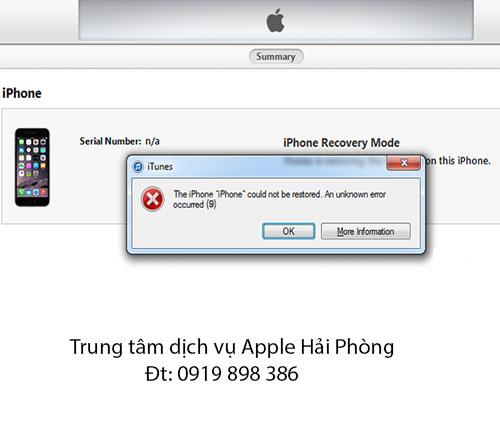 Lỗi 9 khi restore iPhone